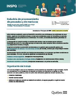 COVID-19 : Industria de procesamiento  de pescados y de mariscos - Medidas de protección en el lugar de trabajo