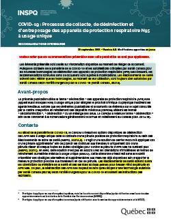COVID-19 : Lignes directrices intérimaires : processus de collecte, de désinfection et d'entreposage des appareils de protection respiratoire N95 à usage unique