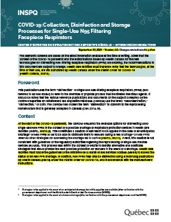 COVID-19: Interim Guidelines - Collection, Disinfection and Storage Processes for Single-Use N95 Filtering Facepiece Respirators