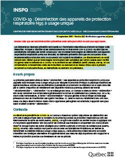 COVID-19: Recommandations intérimaires CERDM - désinfection des protections respiratoires N95 à usage unique