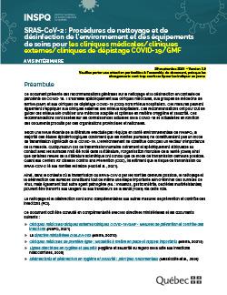 COVID-19 : Procédures de nettoyage et de désinfection  de l'environnement et des équipements de soins  pour les cliniques médicales