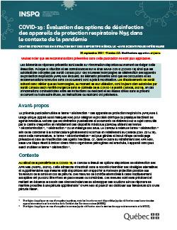 COVID-19 : Évaluation des options de désinfection  des appareils de protection respiratoire N95 dans le contexte de la pandémie