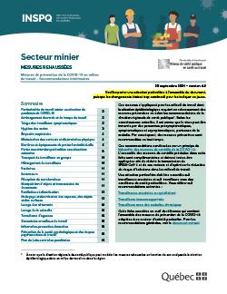 COVID-19 : Recommandations intérimaires de mesures de prévention concernant l'exploitation minière