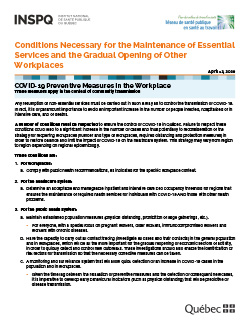 COVID-19: Conditions Necessary for the Maintenance of Essential Services and the Gradual Opening of Other Workplaces