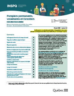Pompiers permanents, volontaires et forestiers: mesures de prévention de la COVID-19 en milieu de travail