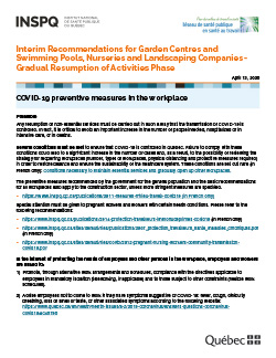Interim Recommendations for Garden Centres and Swimming Pools, Nurseries and Landscaping Companies - Gradual Resumption of Activities Phase