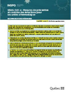 Mesures de prévention et contrôle des infections pour les unités d'hémodialyse