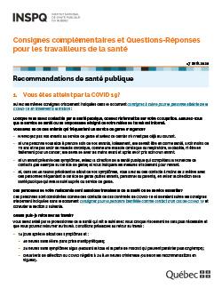Consignes complémentaires et Questions-Réponses pour les travailleurs de la santé
