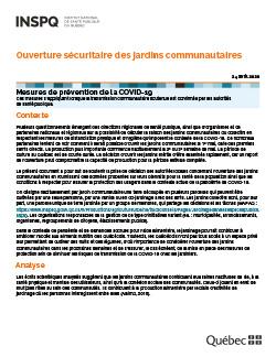 COVID-19 : Ouverture sécuritaire des jardins communautaires