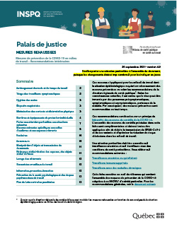 COVID-19 : Recommandations intérimaires de mesures de prévention concernant les palais de justice