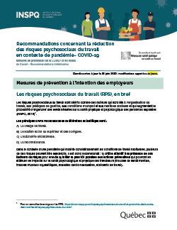 COVID-19 : Recommandations concernant la réduction des risques psychosociaux du travail en contexte de pandémie