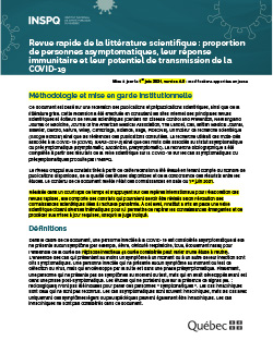 Proportion de personnes asymptomatiques et potentiel de transmission de la COVID-19 par ces personnes