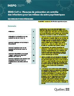 COVID-19 : Mesures de prévention et contrôle des infections pour les installations et les unités de soins psychiatriques