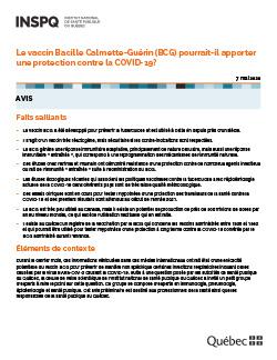 Le vaccin Bacille Calmette-Guérin (BCG) pourrait-il  apporter une protection contre la COVID-19?