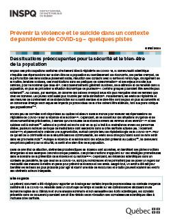 COVID-19 : Prévenir la violence et le suicide dans un contexte de pandémie de COVID-19 – quelques pistes