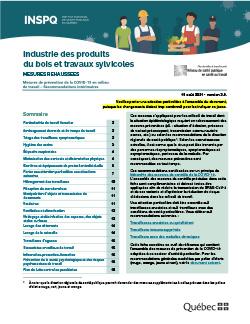 COVID-19 : Recommandations intérimaires de mesures de prévention concernant l'industrie des produits du bois et travaux sylvicoles