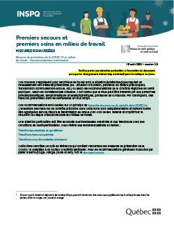 COVID-19 : Mesures de prévention concernant les premiers secours et premiers soins (PSPS)  en milieu de travail