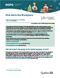 COVID-19: First-Aid in the Workplace - Preventive Measures in the Workplace