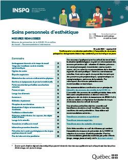 Recommandations intérimaires à l'intention des travailleurs prodiguant des soins personnels d'esthétique