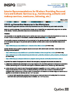 COVID-19: Interim Recommendations for Workers Providing Personal Care and Esthetic Services (e.g., hairdressing, esthetic and makeup services, manicures, tattooing, etc.)