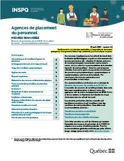 Recommandations intérimaires concernant les agences de placement du personnel