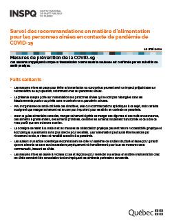 Survol des recommandations en matière d'alimentation pour les personnes aînées en contexte de pandémie de COVID-19