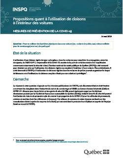 COVID-19 : Propositions quant à l'utilisation de cloisons à l'intérieur des voitures