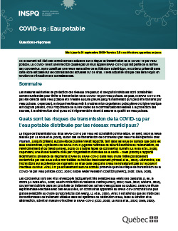 COVID-19 : Eau potable