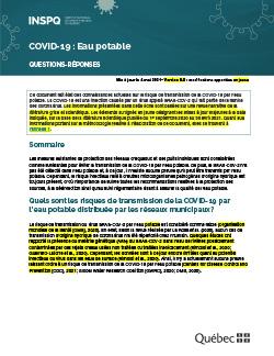 COVID-19 : Eau potable