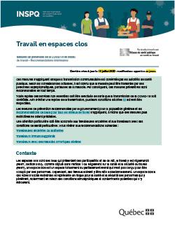 COVID-19 : Recommandations intérimaires concernant le travail en espace clos