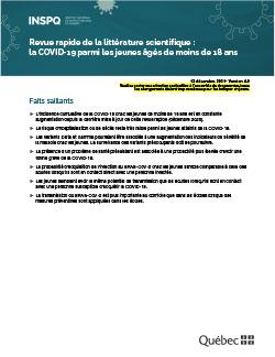 Revue rapide de la littérature scientifique - COVID-19  chez les enfants : facteurs de risque d'infections sévères et potentiel de transmission