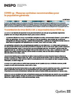 COVID-19 : Mesures sanitaires recommandées pour la population générale
