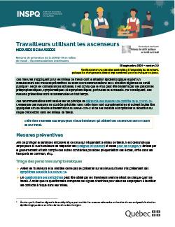 COVID-19 : Recommandations intérimaires pour les travailleurs utilisant des ascenseurs