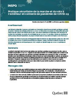 Pratique sécuritaire de la marche et du vélo à l'extérieur en contexte de pandémie de COVID-19