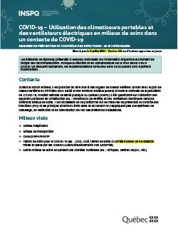 COVID-19 : Mesures de prévention et contrôle des infections pour l'utilisation des climatiseurs mobiles et des ventilateurs sur pied  en milieux de soins dans un contexte de COVID-19