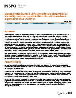 Exposition des jeunes à la violence dans les jeux vidéo et les médias sociaux : considérations dans le contexte de la pandémie de la COVID-19