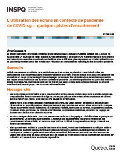 L'utilisation des écrans en contexte de pandémie  de COVID-19 — quelques pistes d'encadrement
