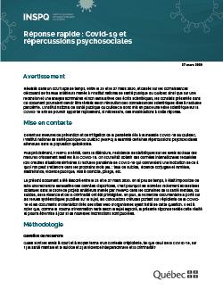 Réponse rapide : COVID-19 et répercussions psychosociales