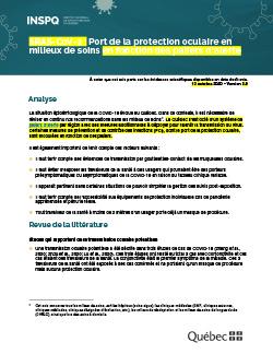 COVID-19 : Port de la protection oculaire en milieux de soins lors d'une transmission communautaire soutenue