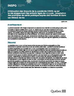 Atténuation des impacts de la pandémie COVID-19 sur le développement des enfants âgés de 0 à 5 ans : adaptation des pratiques de santé publique auprès des familles et dans les milieux de vie