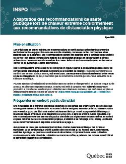 COVID-19 : Adaptation des recommandations de santé publique lors de chaleur extrême conformément aux recommandations de distanciation physique