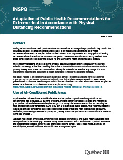 COVID-19: Adaptation of Public Health Recommendations for Extreme Heat in Accordance with Physical Distancing Recommendations