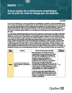 COVID-19 : Revue rapide de la littérature scientifique  sur le port du couvre-visage par les enfants