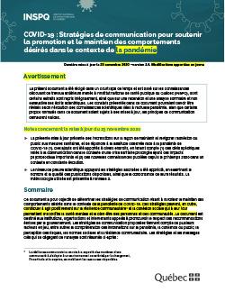 COVID-19 : Stratégies de communication pour soutenir la promotion et le maintien des comportements désirés dans le contexte de déconfinement graduel