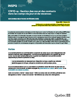 Guide pour la gestion des cas et des contacts de COVID 19 dans les camps de jour