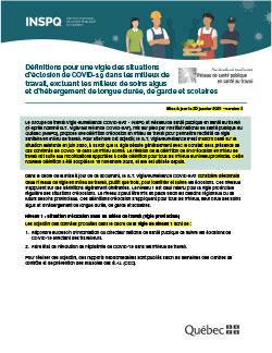 Définitions pour une vigie des situations d'éclosion de COVID-19 dans les milieux de travail, excluant les milieux de soins, de garde et scolaires