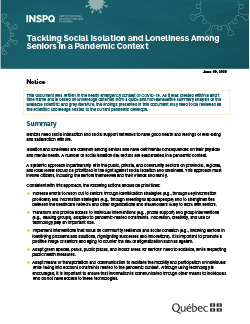 COVID-19: Tackling Social Isolation and Loneliness Among Seniors in a Pandemic Context