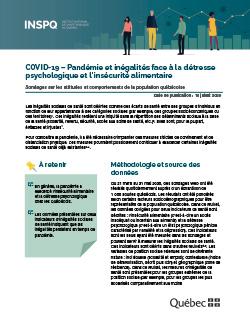 COVID-19 : Pandémie et inégalités face à la détresse psychologique et l'insécurité alimentaire