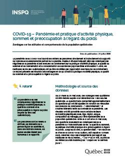 COVID-19 : Pandémie et pratique d'activité physique, sommeil et préoccupation à l'égard du poids