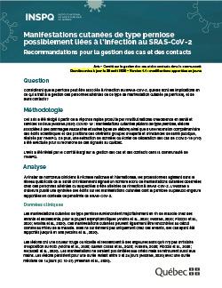 Manifestations cutanées de type perniose possiblement liées à l'infection au SRAS-CoV-2 - Recommandations pour la gestion des cas et des contacts